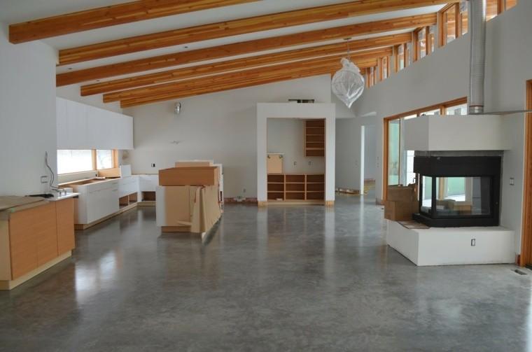 suelo concreto techo vigas maderna