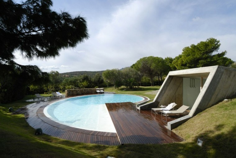 suelo madera piscina jardin amplio moderna ideas