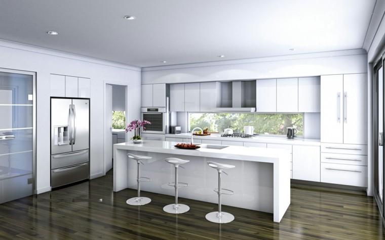 suelo madera taburetes refrigerador aluminio