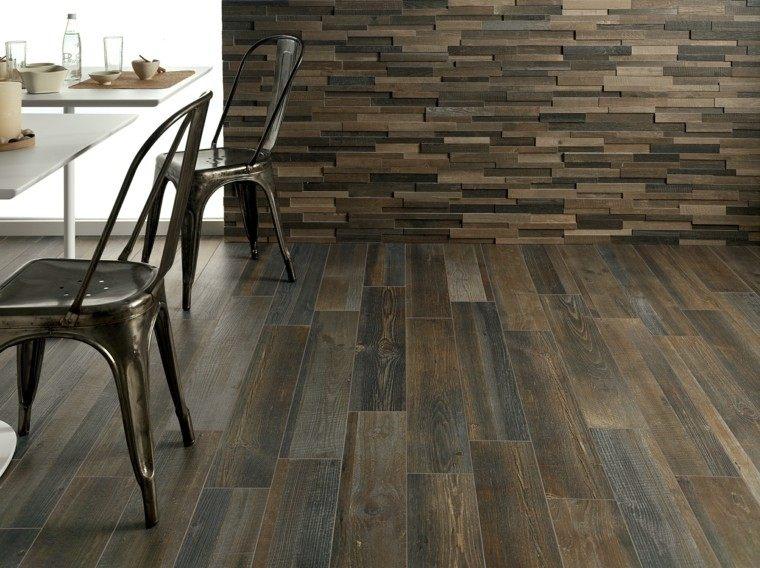 suelo pared baldosas imita madera salon moderno ideas