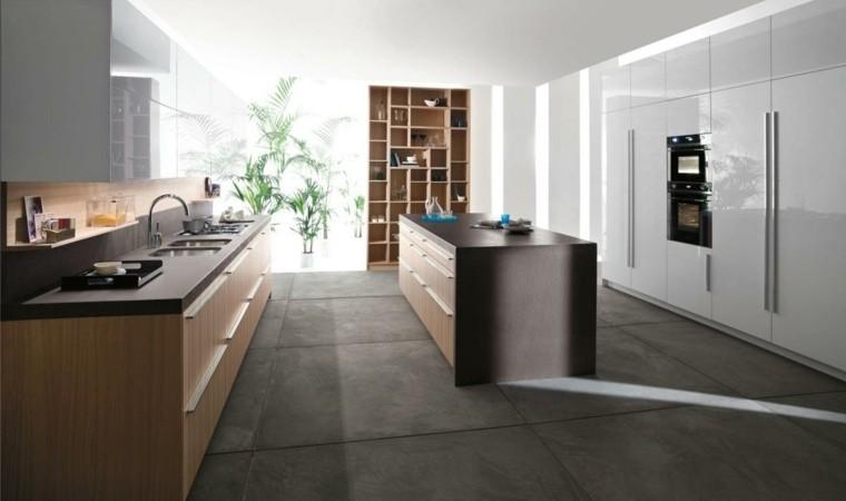 cocina suelo concreto baldosas grandes
