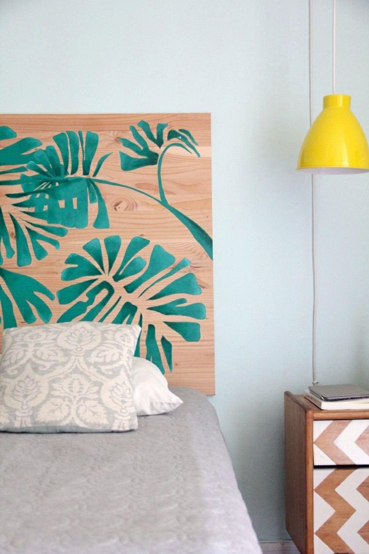 tabla madera pintada flores exoticas para hacer vuestros cabeceros