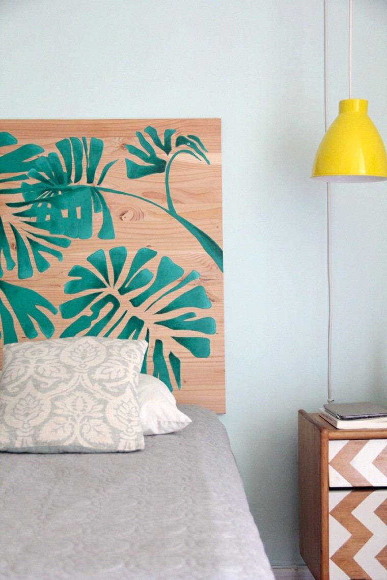 tabla madera pintada flores exoticas