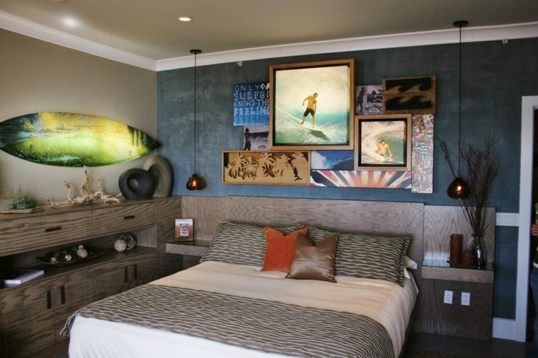 tabla de surf color verde llamativo dormitorio pared fotos ideas
