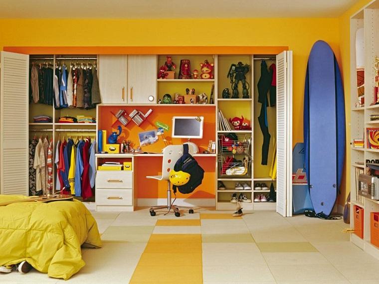 tabla surf decorando dormitorio chico estanterias ideas