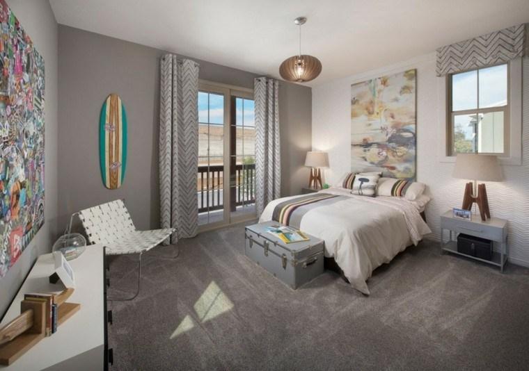 tablas de surf decorar dormitorio paredes grises ideas