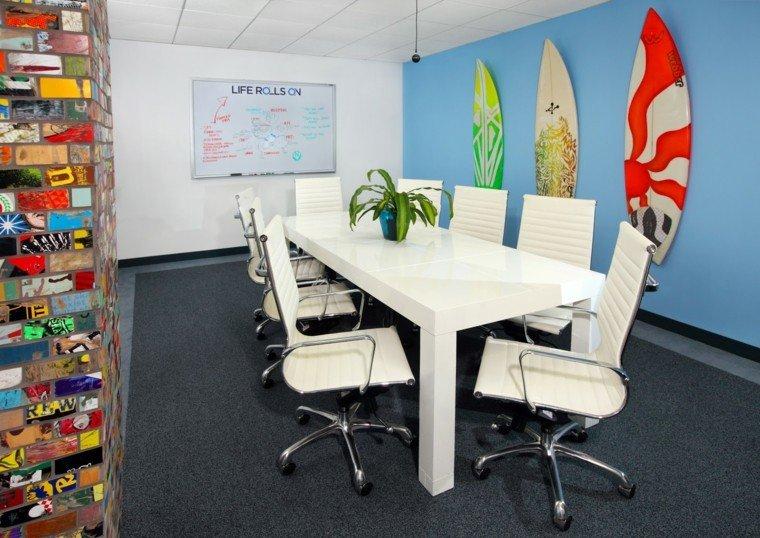 tablas de surf decorar oficina pared azul ideas
