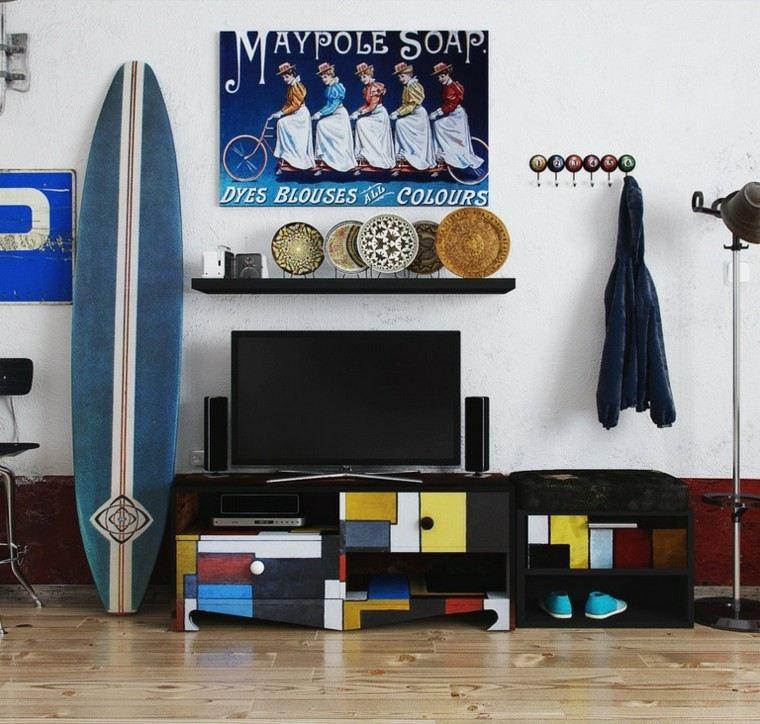 tabla de surf preciosa decorar pared salon precioso ideas
