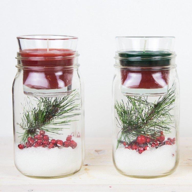 tarros cristal decora navidad velas rojo verde ideas