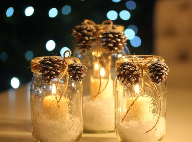 tarros de cristal decorativos pina pino velas ideas