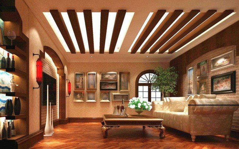 Falso techo de dise o moderno cincuenta modelos - Vigas madera techo ...