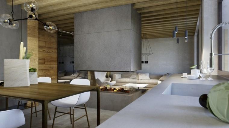 techo madera muro chimenea colgante