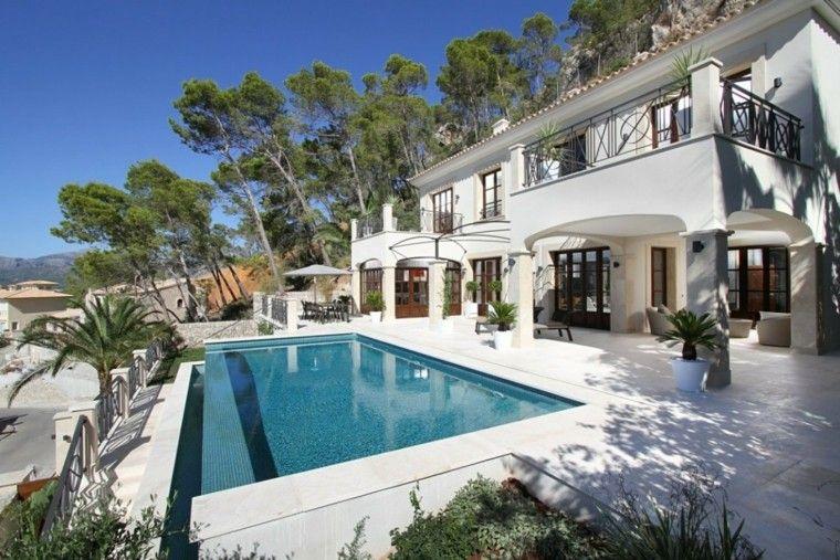 terraza moderna casa blanca piscina pequena ideas