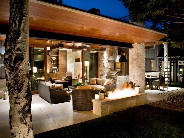 terraza moderna lugar fuego pergola grande muebles rattan ideas