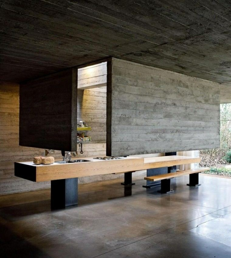 terraza porche paredes cemento madera