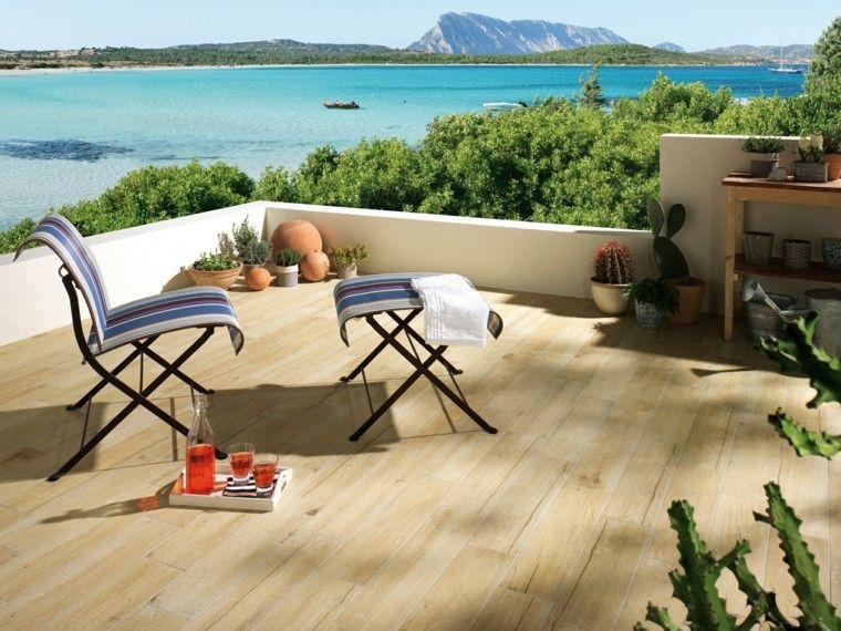 terraza vintage losas imitan madera silla taburete comodo ideas
