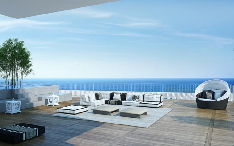 terraza moderna suelo laminado madera
