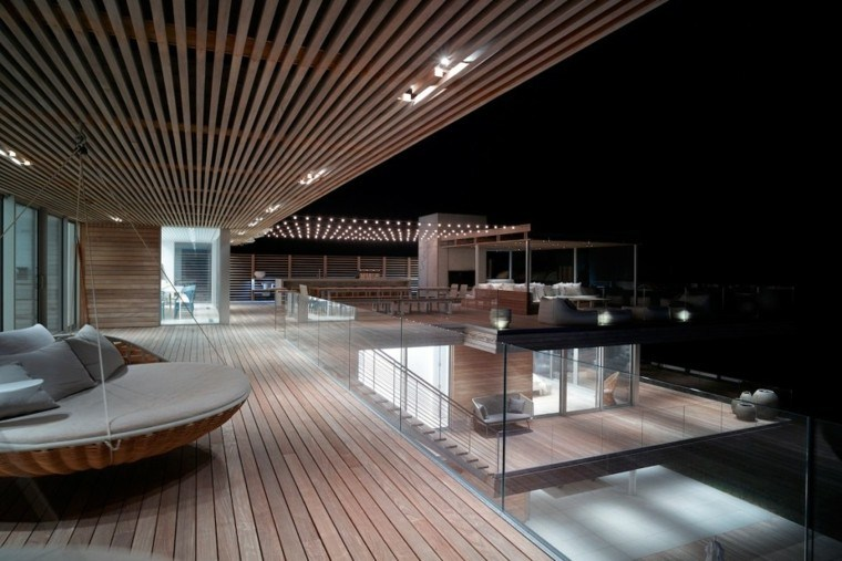 terraza moderna suelo techo madera