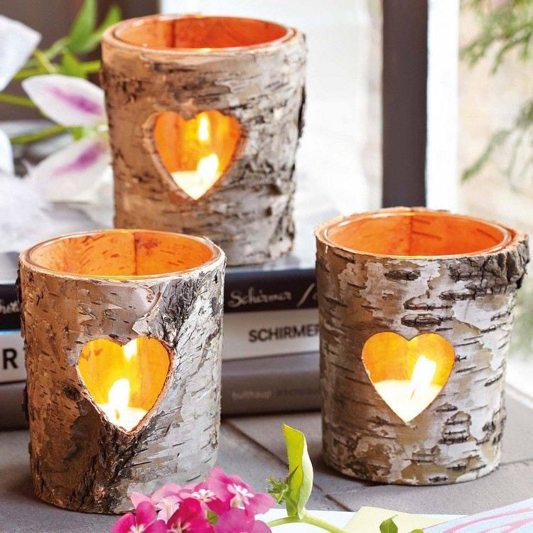 troncos velas detalle fuego plantas
