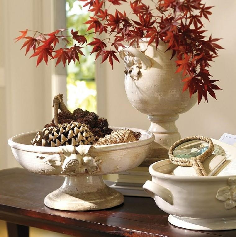 vajilla blanca ramas hojas secas arbol decorativas ideas