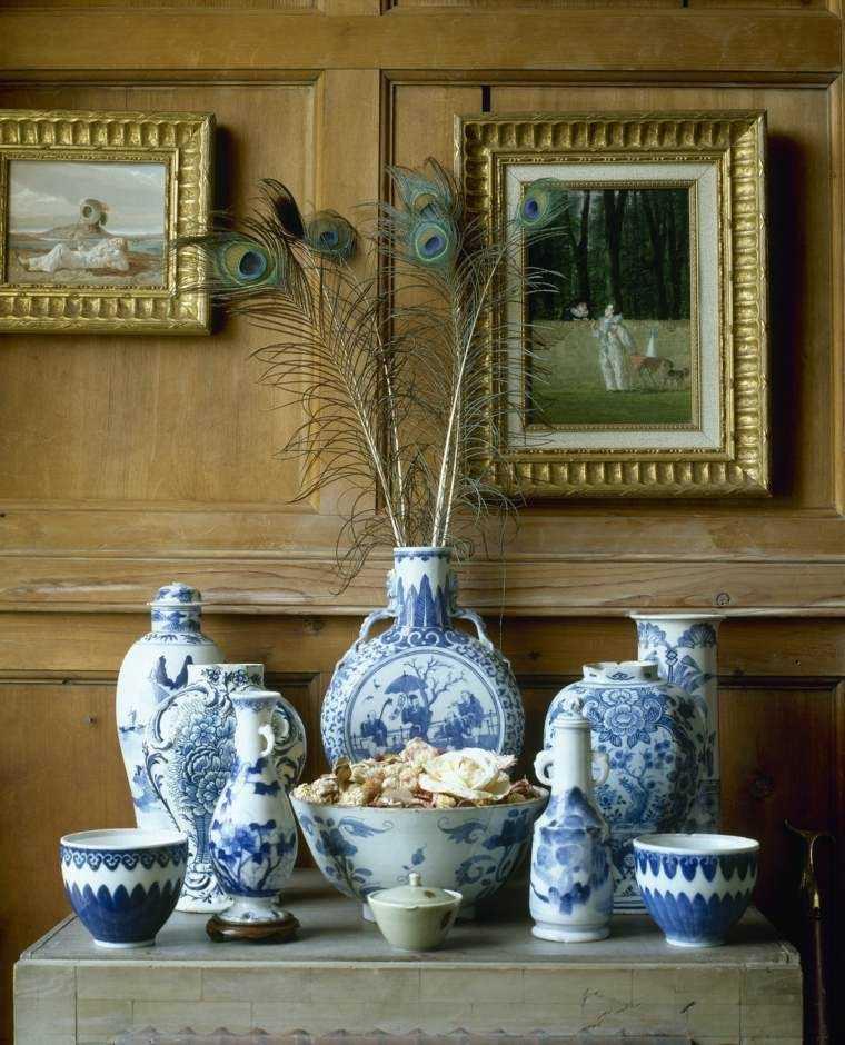 vajilla clasica adornada pluma pavo