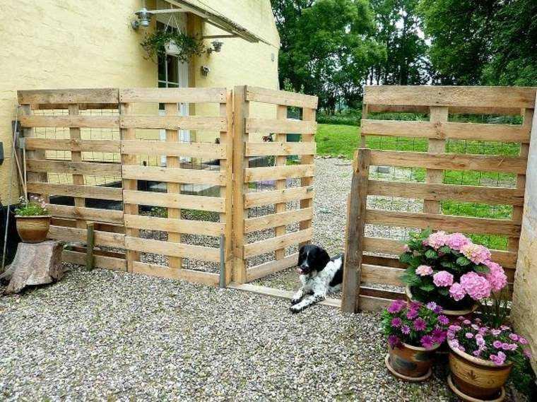 valla jardin palets madera perro