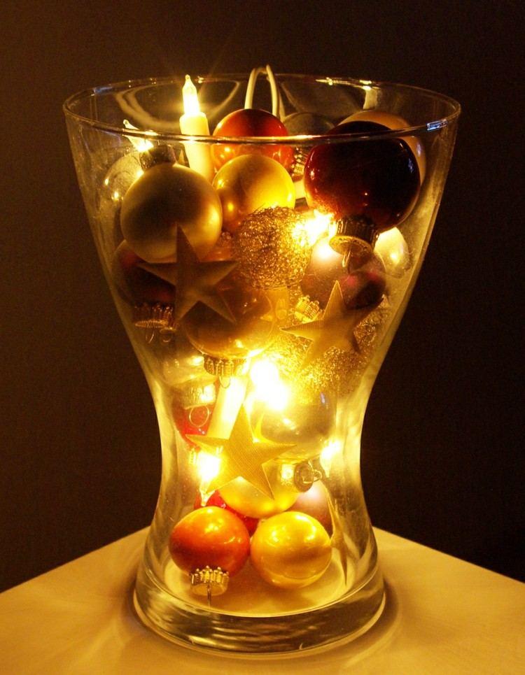vaso bolas luces decorando casa navidad acogedor ideas