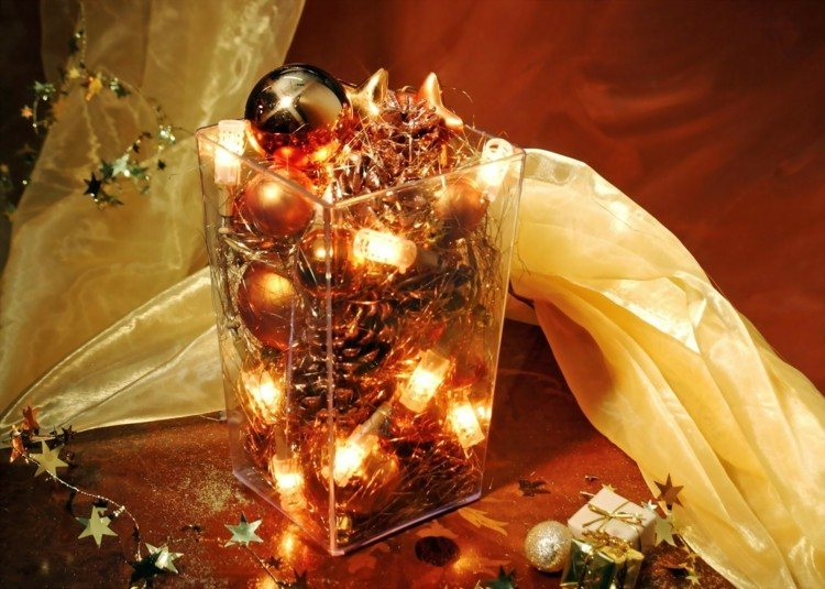 vaso cristal luces navidad pinos gurnaldas ideas