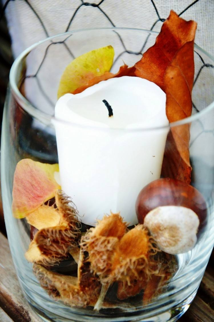 glass glass white candle leaves