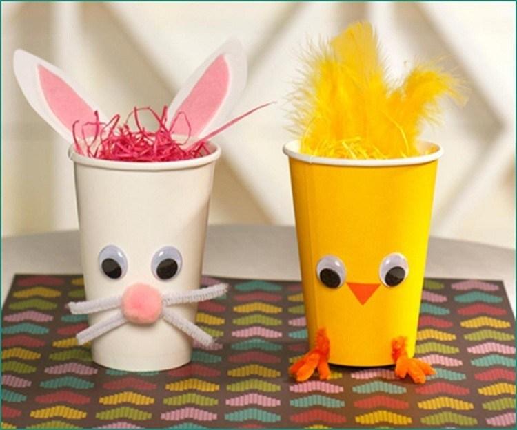vasos amarillo detalle conejos colorido