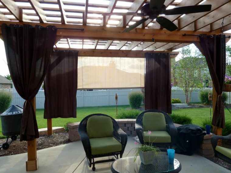 ventilador techo pergola moderna cojines