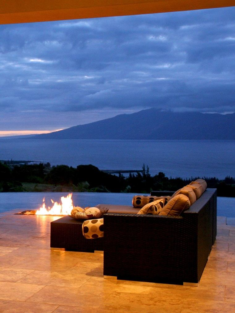 vistas oceano terraza lugar fuego sofas rattan ideas