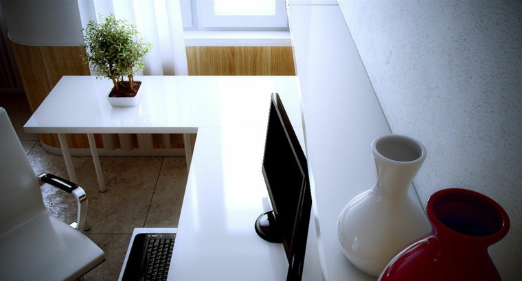 zona trabajo escritorio blanco moderno