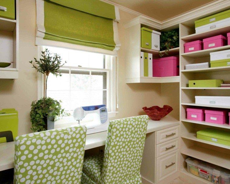 zona trabajo color verde rosa