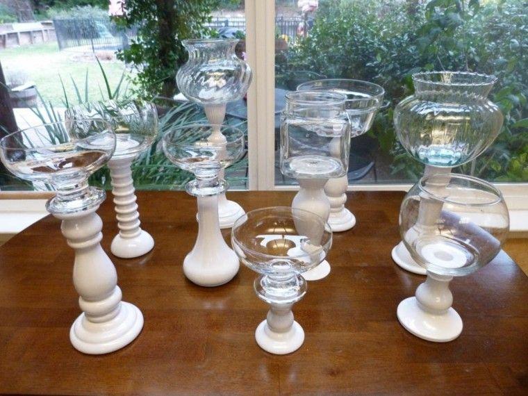 candelabro precioso madera blanca vasos cristal