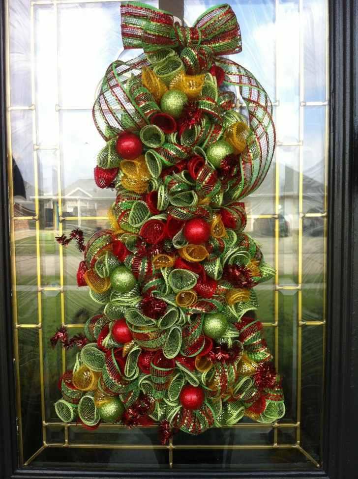 abeto navidad decorar puerta
