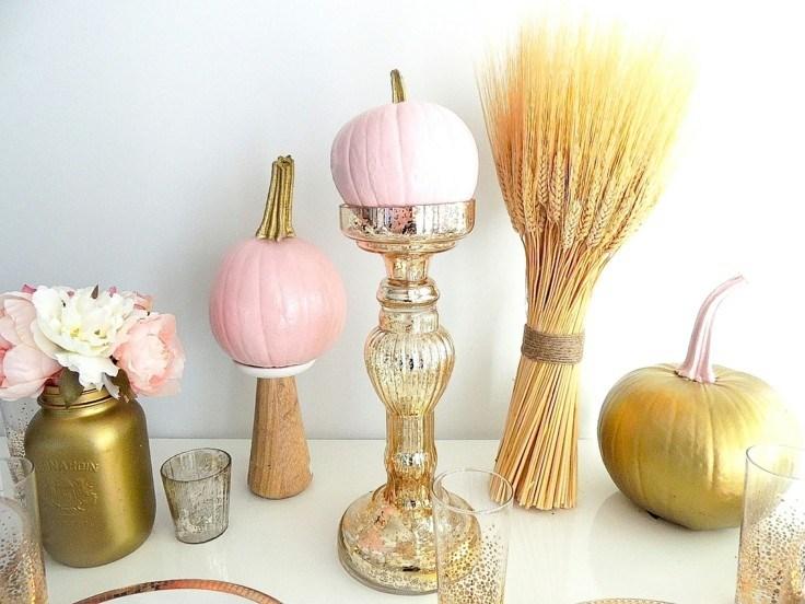 adornos otoño calabaza rosa