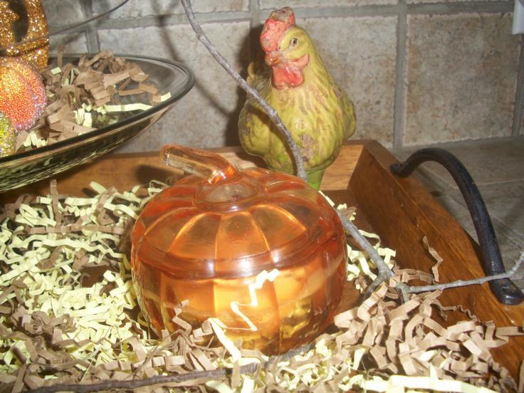 adorno forma pollo calabaza cristal