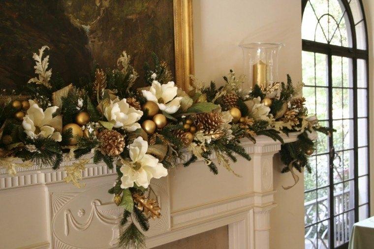 adorno navidad flores magnolias bolas