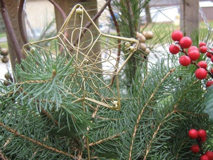 adorno navidad pino estrella bayas