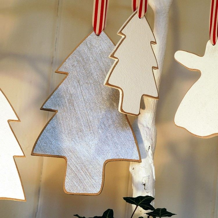 adornos caseros madera arboles navidad