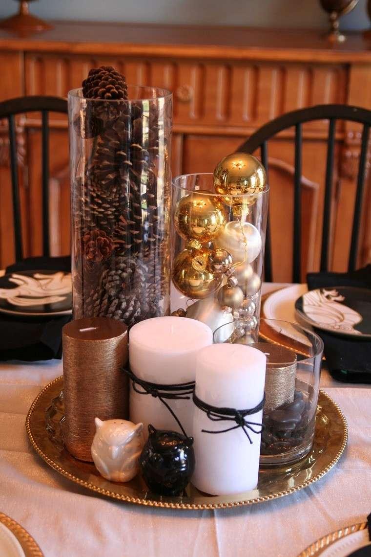 adornos de navidad negros oro centro mesa velas ideas