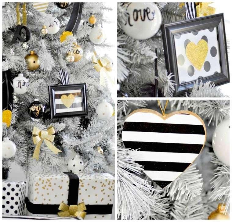 adornos de navidad negros oro corazones arbol regalos ideas