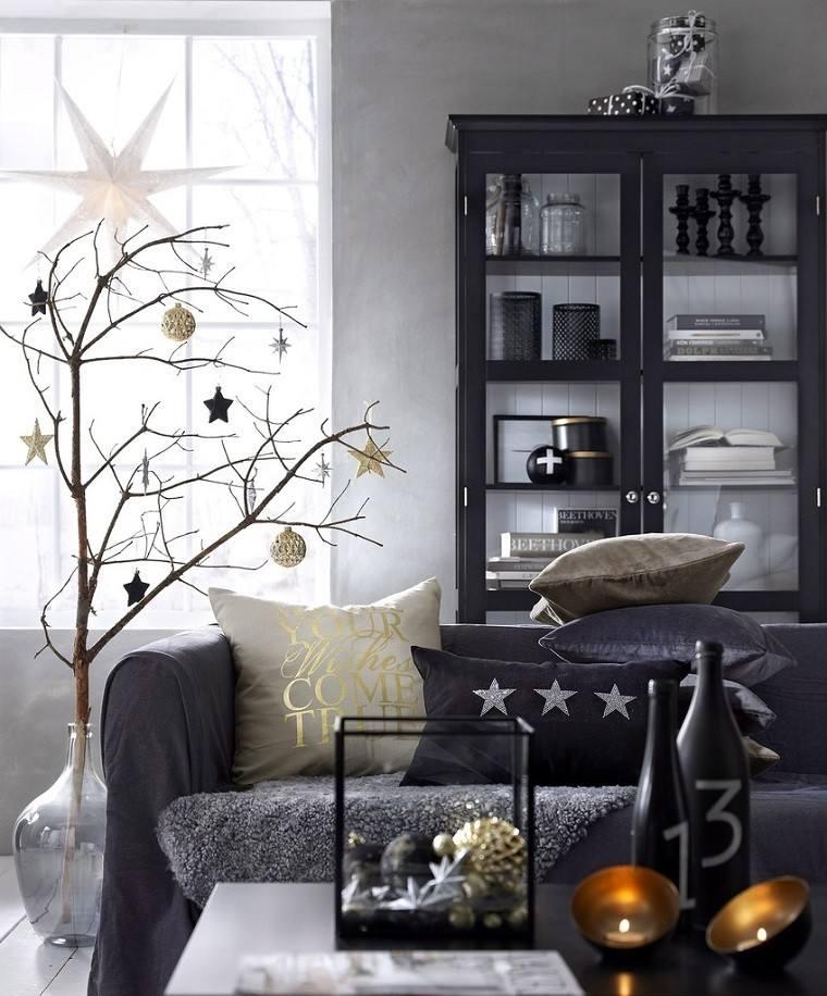 adornos navidad negros oro rama arbol ideas