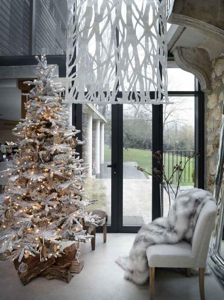 adornos decoracion navideña salon arbol blanco madera ideas