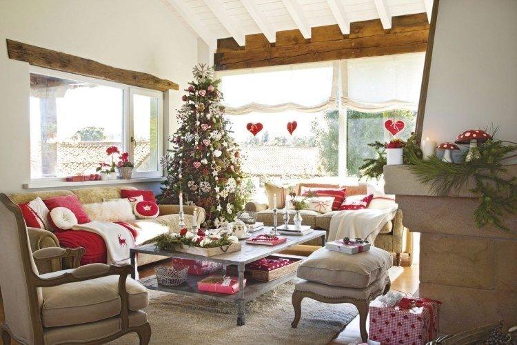 adornos decoracion navideña salon arbol mesa cafe decorada ideas