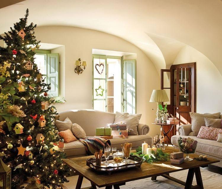 adornos decoracion navideña salon casitas pajaros colgando arbol ideas