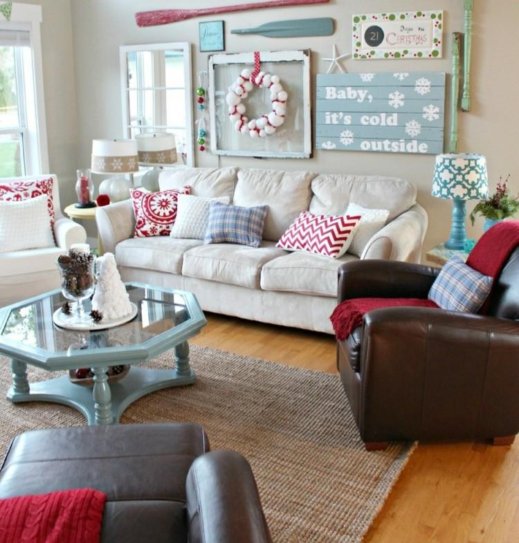 adornos decoracion navideña salon guirnalda bolas blancas ideas