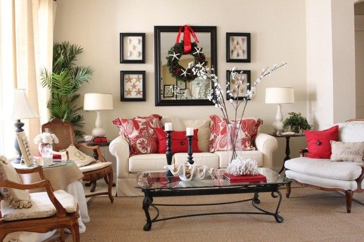 adornos decoracion navideña salon guirnalda pared ideas