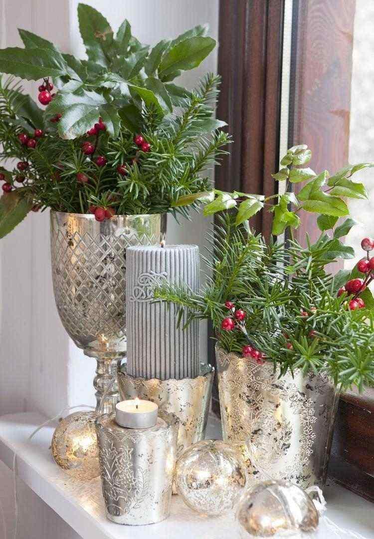 adornos decoracion navideña salon jarrones color plata ideas